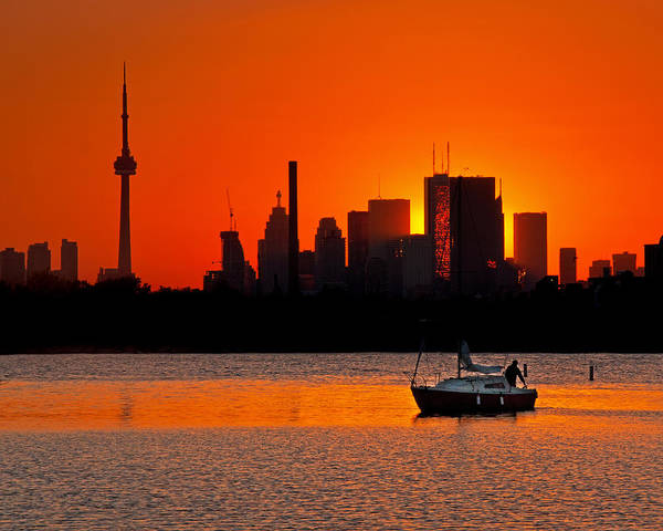 Sunset Sail Ashbridges Bay Toronto Canada Art Print