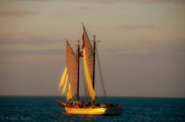 Photograph - Sunset Sail by Brenda Jacobs