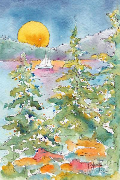 Painting - Sunset Sail On Waskesiu Lake by Pat Katz