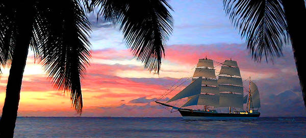 Digital Art - Sunset Sailboat Filtered by Duane McCullough