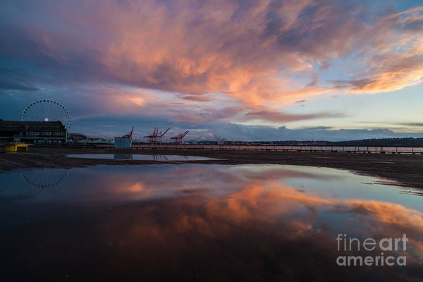 Puget Sound Photograph - Sunset Skies And The Wheel by Mike Reid
