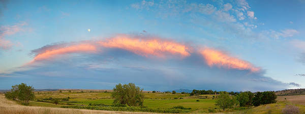 Shelf Cloud Photograph - Sunset Storm And Moon From Longmont To Boulder Co Panorama by James BO Insogna