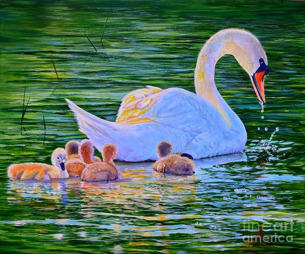 Wall Art - Painting - Sunset Swan Family by AnnaJo Vahle