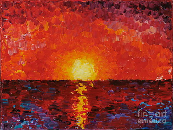 Oceanscape Painting - Sunset by Teresa Wegrzyn