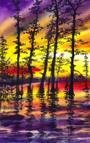 Umber Painting - Sunset Through The Trees by Irina Sztukowski