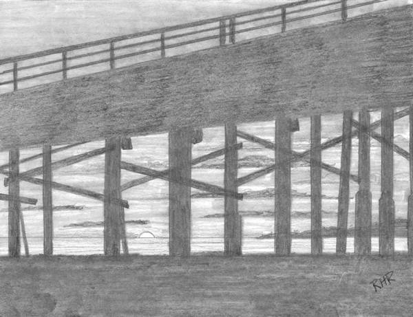 Pier Drawing - Sunset Under The Pier by Ray Ratzlaff