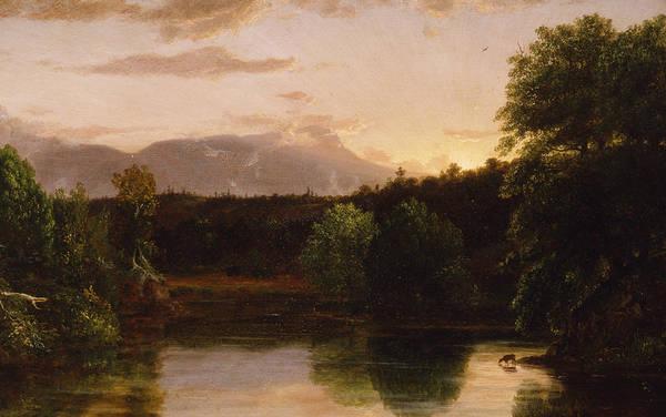 Catskills Painting - Sunset  View On Catskill Creek by Thomas Cole