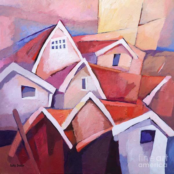 Painting - Sunset Village by Lutz Baar