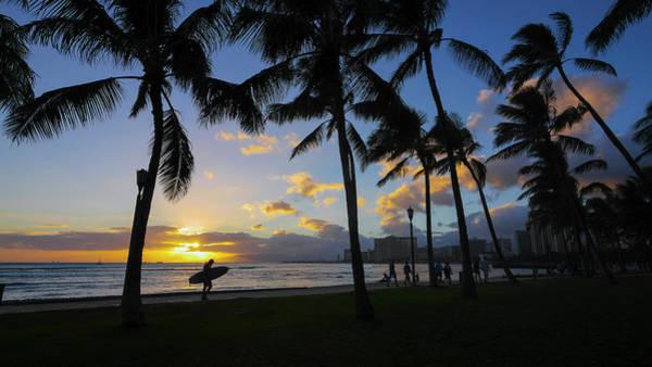 Coconut Trees Photograph - Sunset, Waikiki, Oahu, Hawaii by Douglas Peebles