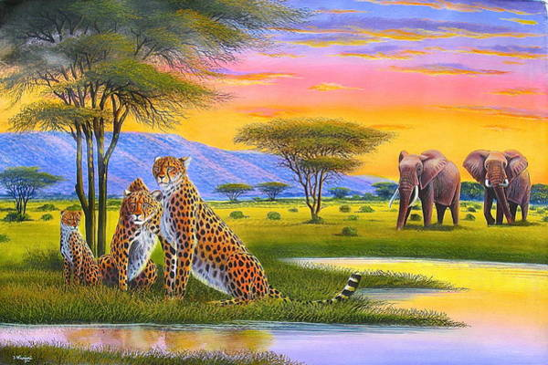 Painting - Sunset Watch by Jane Wanjeri