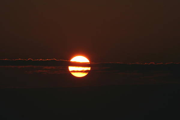 Sunset With Cloud Art Print by Carolyn Reinhart