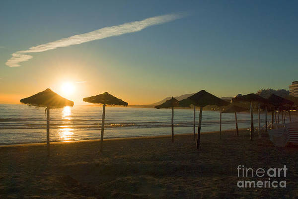 Photograph - Sunset With Umbrellas In Marbella by Brenda Kean