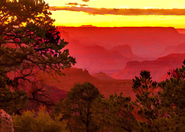 Painting - Sunset Yaki Point Grand Canyon by Bob and Nadine Johnston