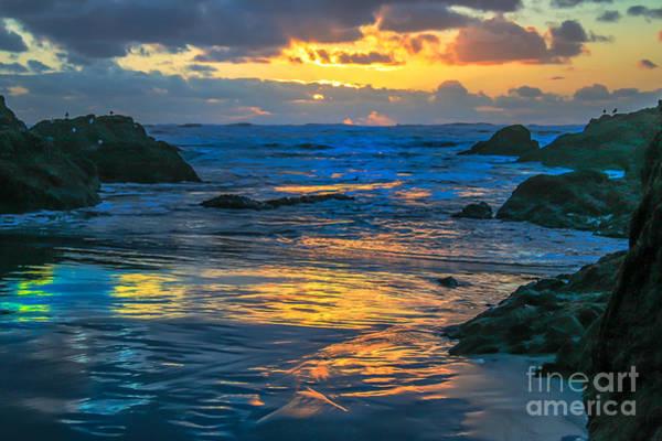 Marine Layer Photograph - Sunset Yellow Reflections by Robert Bales