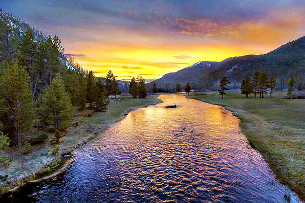 Montana Photograph - Sunset Yellowstone National Park Madison River by Bob and Nadine Johnston