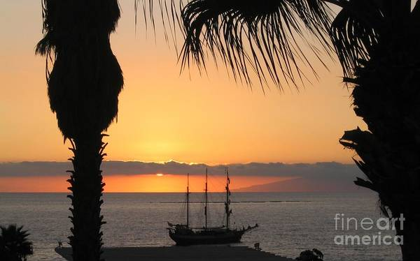 La Gomera Wall Art - Photograph - Sunsetting On The Tall Ship by Avril Harris