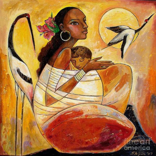 Wall Art - Painting - Sunshine Mother And Child by Shijun Munns