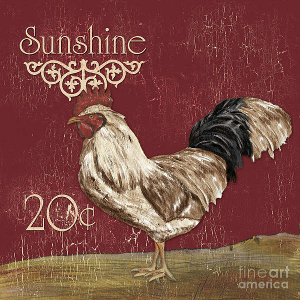 Rustic Painting - Sunshine Rooster by Debbie DeWitt