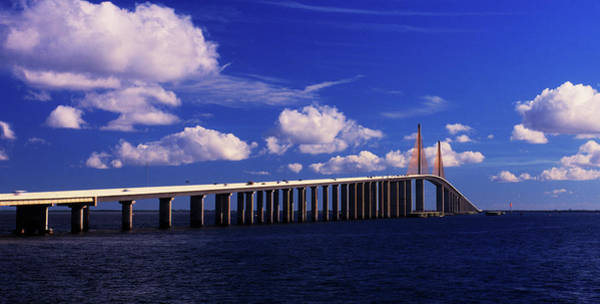Cable-stayed Bridge Photograph - Sunshine Skyway Bridge Spanning Tampa by Panoramic Images