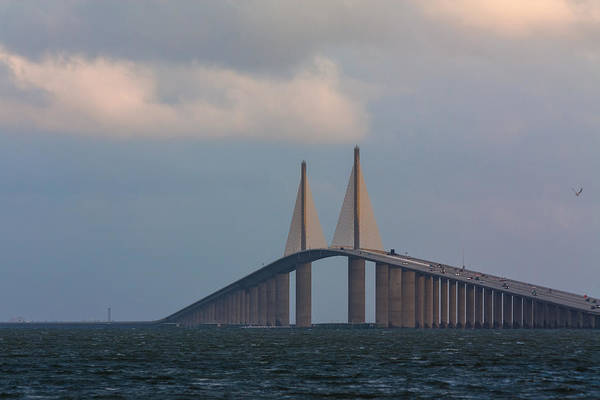 Photograph - Sunshine Skyway by Ed Gleichman