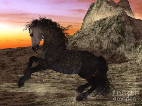 Digital Art - Sunset Stallion by Elle Arden Walby