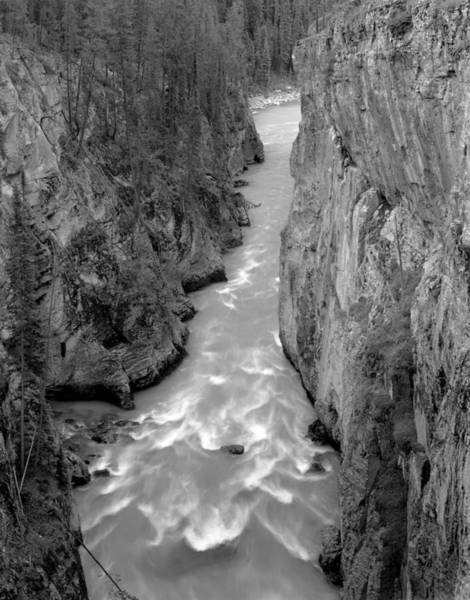 Photograph - 1m3749-bw-sunwapta Canyon And River by Ed  Cooper Photography