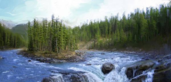 Rockies Digital Art - Sunwapta Falls - Jasper Park- Alberta Canada by Daniel Hagerman
