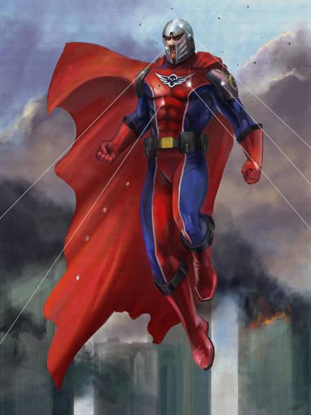 Heroic Wall Art - Mixed Media - Super Hero by Steve Goad