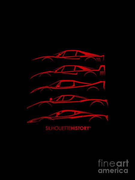 Supercars Digital Art - Super Macchina Silhouettehistory by Gabor Vida