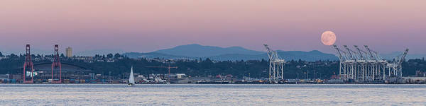 Photograph - Super Moon And Sailing Panorama by Scott Campbell