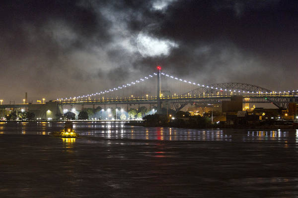 Super Moon And Triboro Bridge Art Print