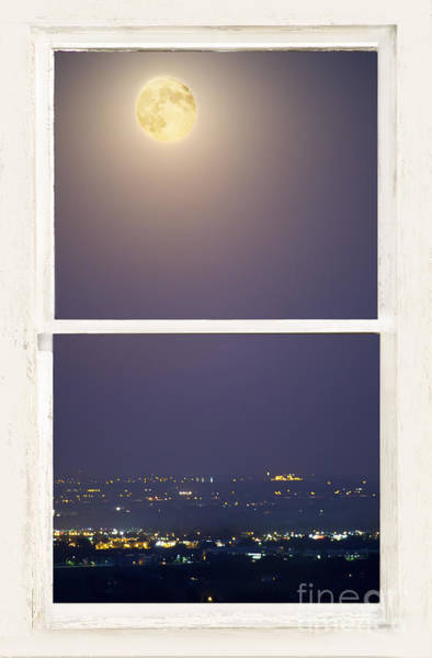 Wall Art - Photograph - Super Moon Over City Lights View Through White Rustic Window by James BO Insogna