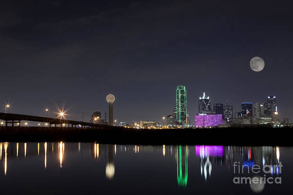 Wall Art - Photograph - Super Moon Over Dallas Skyline by Keith Kapple