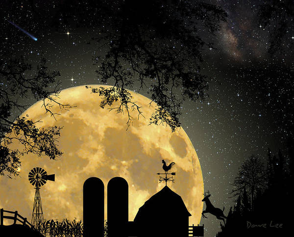 Wind Vane Digital Art - Super Moon Over The Farm by Dave Lee