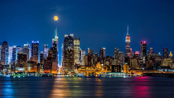 Photograph - Super Moon Rise Above Manhattan by Mihai Andritoiu