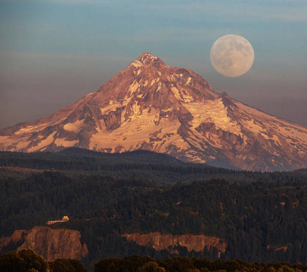 Mt Hood Photograph - Super Moon Rising by Angie Vogel