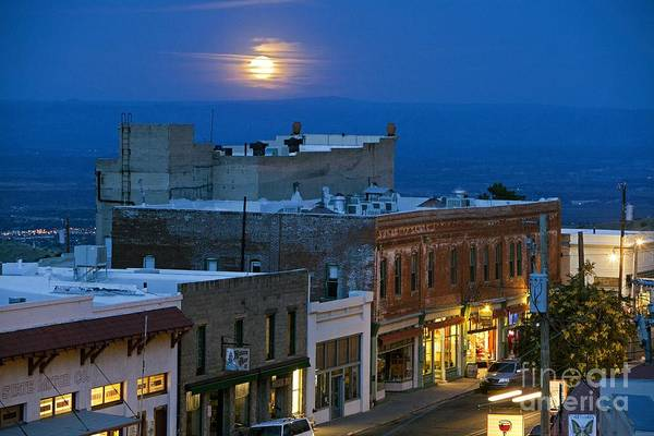 Photograph - Super Moonrise Over Jerome Arizona by Ron Chilston
