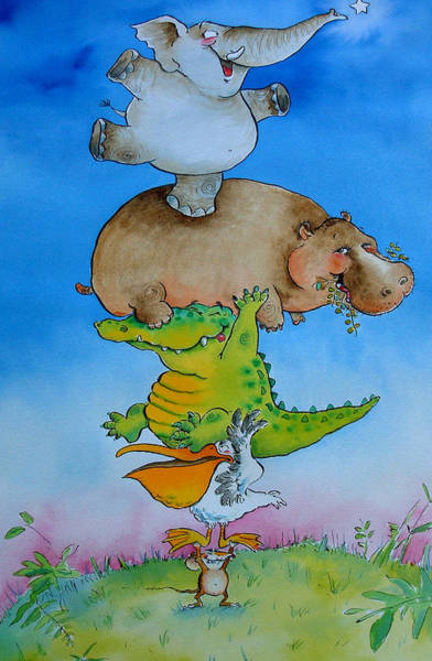 Hippo Photograph - Super Mouse Pen & Ink And Wc On Paper by Maylee Christie