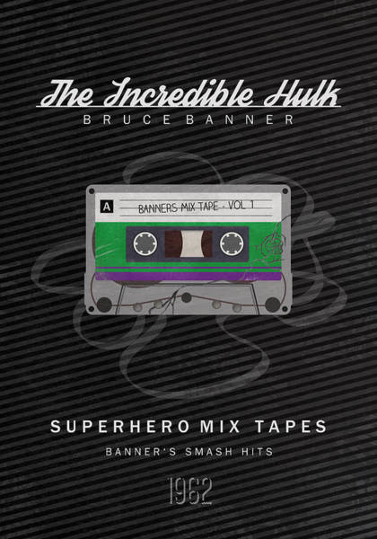 Incredible Wall Art - Digital Art - Superhero Mix Tapes - The Incredible Hulk by Alyn Spiller
