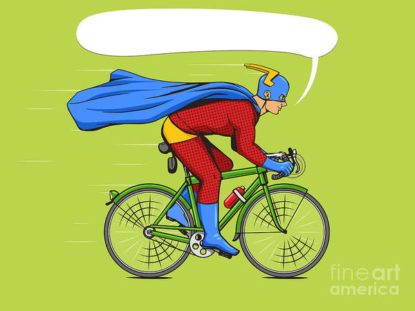 Wall Art - Digital Art - Superhero On A Bicycle Cartoon Pop Art by Alexander p