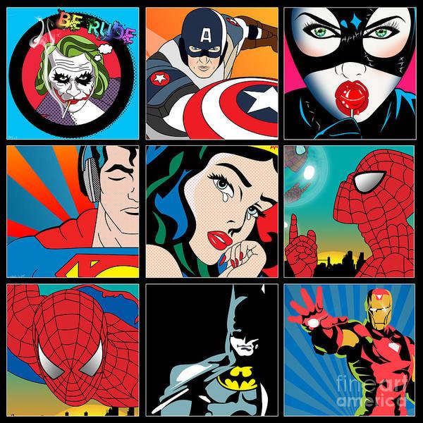 Pop Culture Painting - Superheroes by Mark Ashkenazi