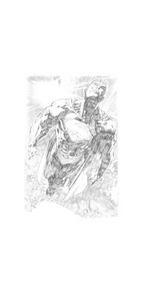Metropolis Digital Art - Superman - Exploding Space Sketch by Brand A