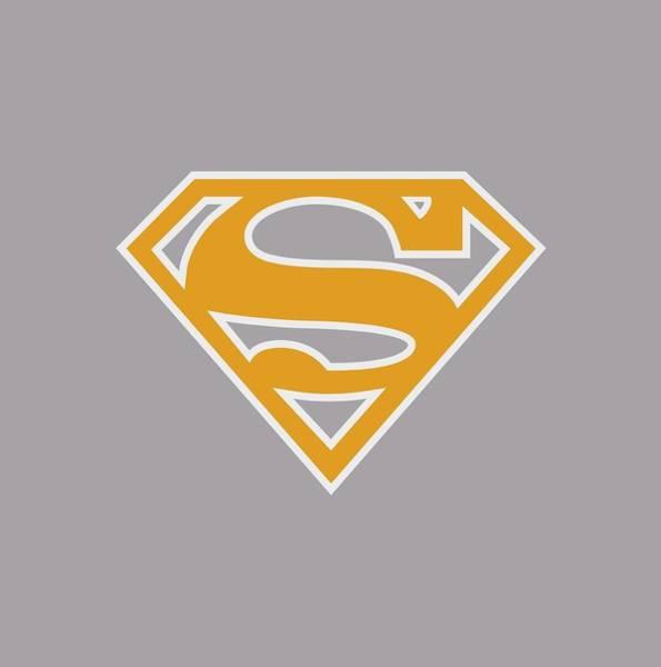 Metropolis Digital Art - Superman - Lt Orange And White Shield by Brand A