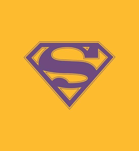 Metropolis Digital Art - Superman - Purple And Gold Shield by Brand A