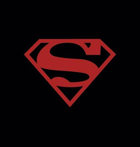 Metropolis Digital Art - Superman - Red On Black Shield by Brand A