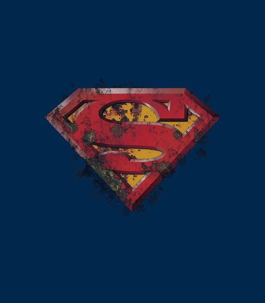 Man Of Steel Wall Art - Digital Art - Superman - Rusted Shield by Brand A