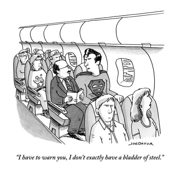 Superhero Drawing - Superman Sits In A Plane Next To A Businessman by Joe Dator