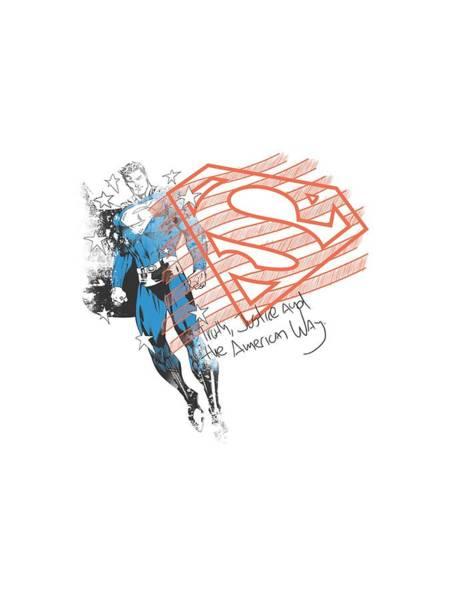 Metropolis Digital Art - Superman - Super American Flag by Brand A