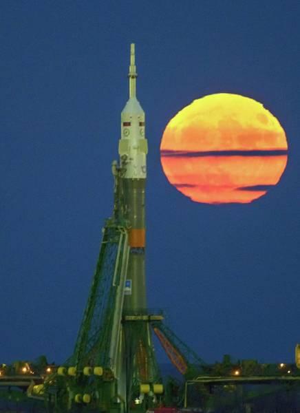 Perigee Moon Photograph - Supermoon And Soyuz Rocket At Baikonur by Nasa/bill Ingalls/science Photo Library