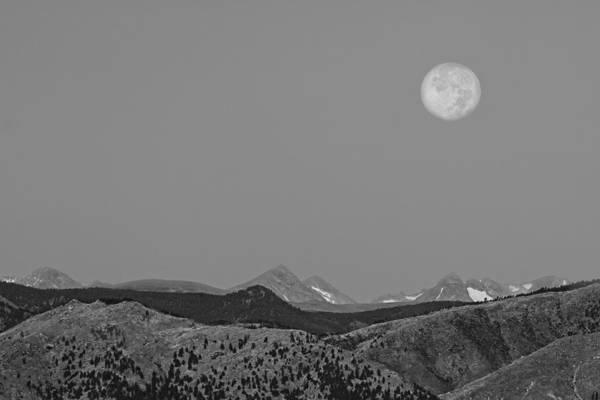 Wall Art - Photograph - Supermoon Over Colorado Rocky Mountains Indian Peaks Bw by James BO Insogna
